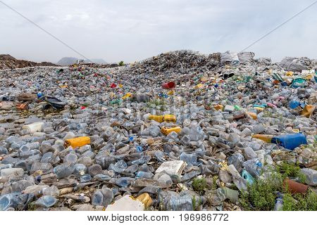 a waste dumping landfill with open burning area