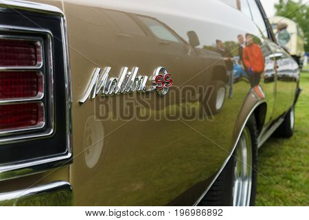 PAAREN IM GLIEN GERMANY - MAY 23 2015: Fragment of a mid-size car Chevrolet Chevelle Malibu SS. The oldtimer show in MAFZ.
