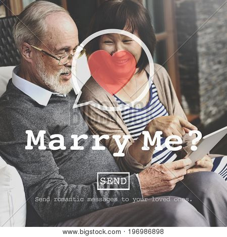 Marry Me Proposal Marriage Online Messaging Concept