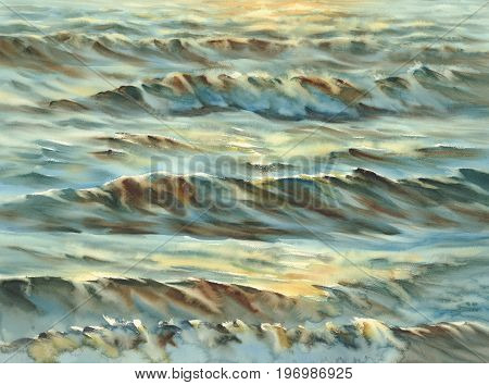 sunny sea with waves and reflections watercolor background