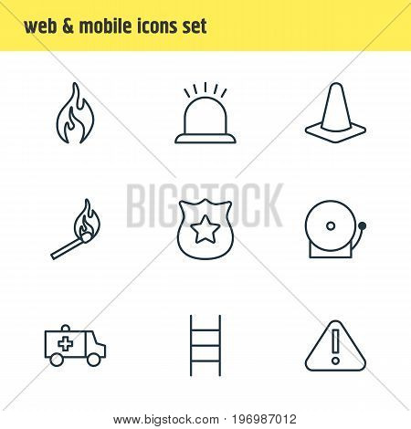 Editable Pack Of Alarm, Taper, First-Aid And Other Elements.  Vector Illustration Of 9 Emergency Icons.
