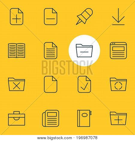 Editable Pack Of Loading, Plus, Textbook And Other Elements.  Vector Illustration Of 16 Bureau Icons.