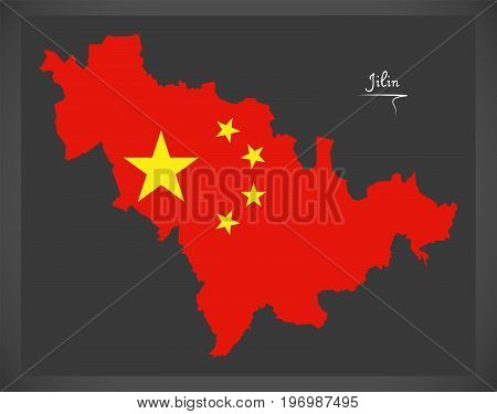 Jilin China Map With Chinese National Flag Illustration