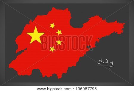 Shandong China Map With Chinese National Flag Illustration
