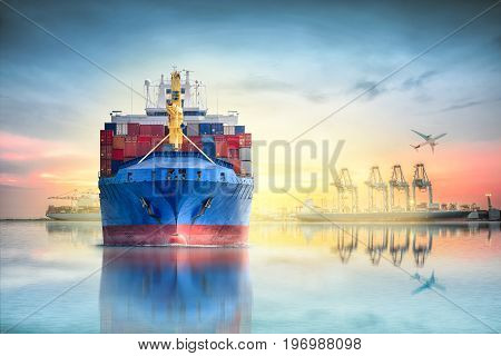 Logistics and transportation of international container cargo ship and cargo plane with ports crane bridge in harbor at sunset sky for logistics import export background and transportation industry.