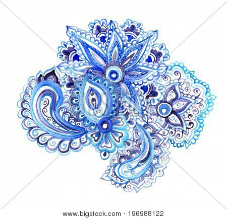 Indian ethnic floral ornament with oriental flowers and paisley. Watercolor decorative design