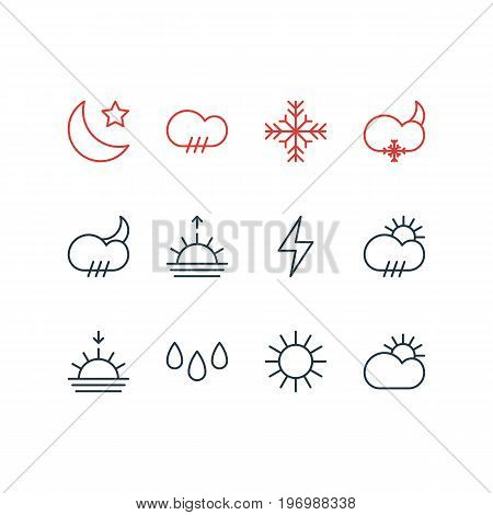 Editable Pack Of Sunset, Lightning, Rain And Other Elements.  Vector Illustration Of 12 Sky Icons.