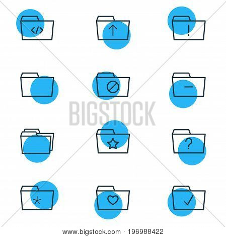 Editable Pack Of Pinned, Script, Locked And Other Elements.  Vector Illustration Of 12 Folder Icons.