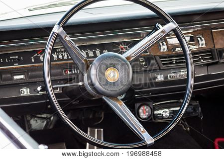 PAAREN IM GLIEN GERMANY - MAY 23 2015: Cabin of a vintage car Chrysler New Yorker 1965. The oldtimer show in MAFZ.