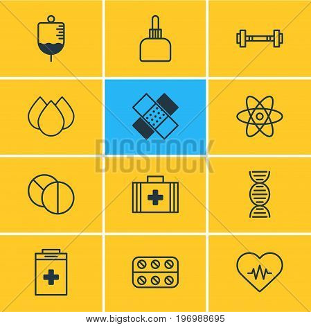 Editable Pack Of Medical Bag, Exigency, Dumbbell And Other Elements.  Vector Illustration Of 12 Medical Icons.