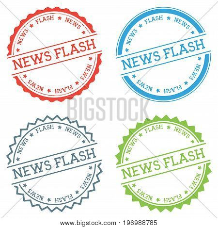 News Flash Badge Isolated On White Background. Flat Style Round Label With Text. Circular Emblem Vec