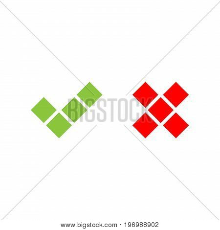 Check mark icons of squares. Green tick and red cross. Flat vector illustration isolated on white background.