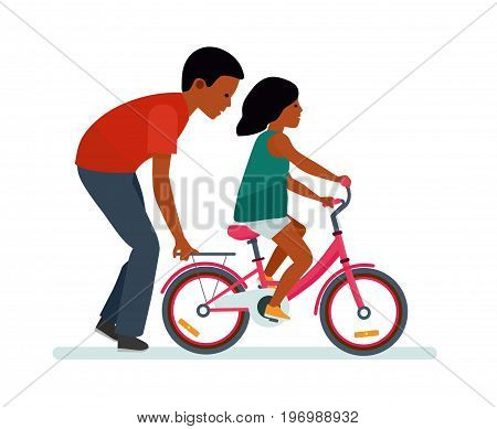 Father and daughter. Father helping daughter to ride a bike. White background. African American people. Happy family. Vector illustration flat cartoon style