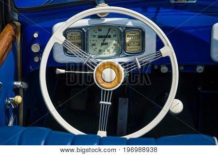 PAAREN IM GLIEN GERMANY - MAY 23 2015: Cabin of the 2-door cabriolet BMW 327 1952. The oldtimer show in MAFZ.