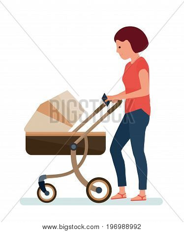 A woman with a stroller, with phone in hand, walking in the Park. White background. Vector illustration flat cartoon style