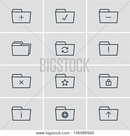 Editable Pack Of Pinned, Minus, Done And Other Elements.  Vector Illustration Of 12 Dossier Icons.