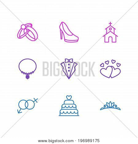 Editable Pack Of Accessories, Love, Jewelry And Other Elements.  Vector Illustration Of 9 Wedding Icons.