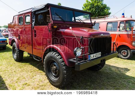 PAAREN IM GLIEN GERMANY - MAY 23 2015: Military truck by NATO Borgward B 2000A. The oldtimer show in MAFZ.