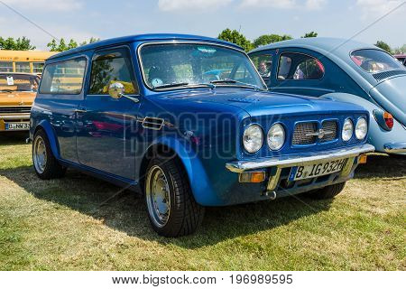 PAAREN IM GLIEN GERMANY - MAY 23 2015: Compact car Morris Mini Clubman Estate. The oldtimer show in MAFZ.