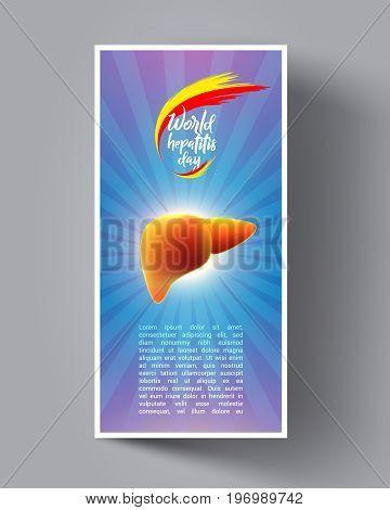 World Hepatitis Day Flyer, Leaflet, Banners, Invitation, Brochure. Vector illustration. Medical Design Template