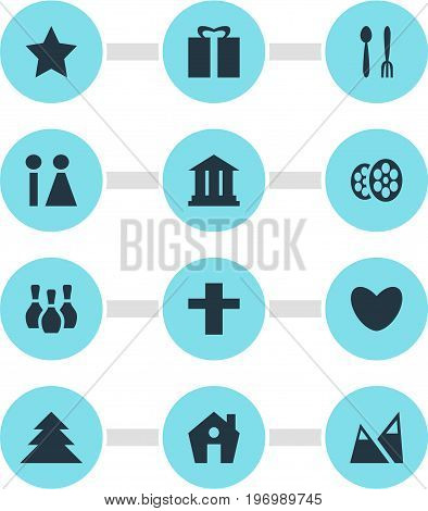 Editable Pack Of Jungle, Heart, Toilet And Other Elements.  Vector Illustration Of 12 Check-In Icons.