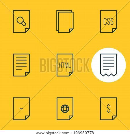 Editable Pack Of Code, Dollar, Document And Other Elements.  Vector Illustration Of 9 Page Icons.