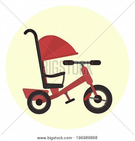 Flat red kids tricycle with push handle icon vector color childrens toy transport symbol