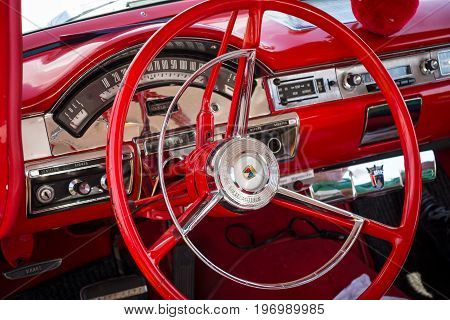 PAAREN IM GLIEN GERMANY - MAY 23 2015: Cabin of a full-size car Ford Fairlane 500 1957. The oldtimer show in MAFZ.