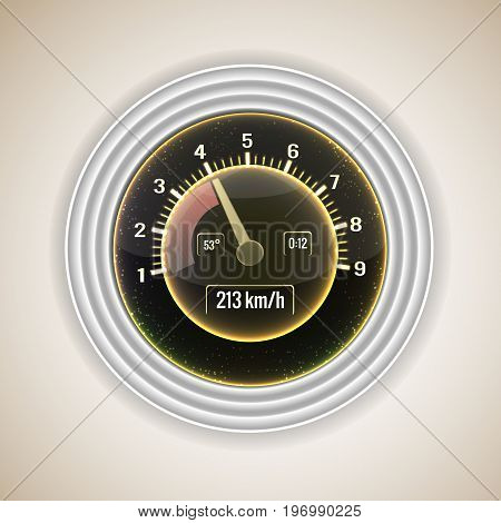 Realistic car speedometer interface background with a transmission steps on gray gradient fond vector illustration