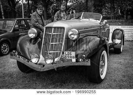 PAAREN IM GLIEN GERMANY - MAY 23 2015: Vintage car Auburn 852 Speedster. Black and white. The oldtimer show in MAFZ.