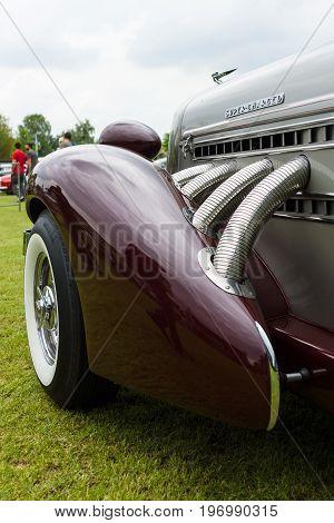 PAAREN IM GLIEN GERMANY - MAY 23 2015: Fragment of vintage car Auburn 852 Speedster. The oldtimer show in MAFZ.