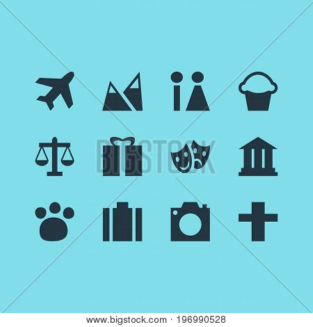 Editable Pack Of University, Cake, Landscape Elements.  Vector Illustration Of 12 Travel Icons.