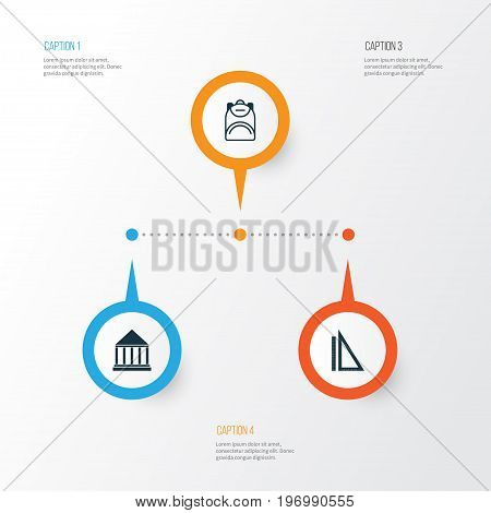 Education Icons Set. Collection Of Haversack, Measurement, Education Center And Other Elements
