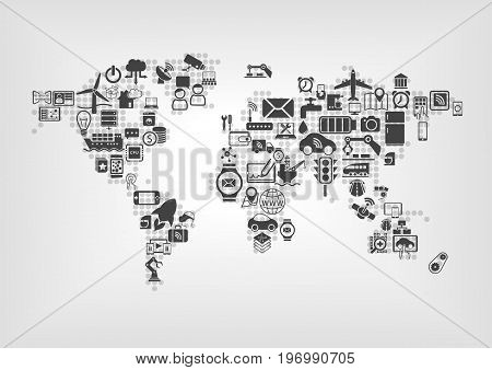 Internet of things (IOT) and global connectivity concept. World map of connected smart devices using flat design