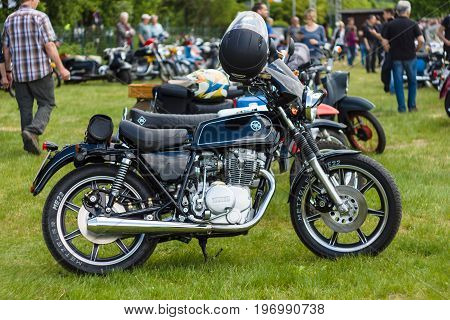 PAAREN IM GLIEN GERMANY - MAY 23 2015: Custom bike based on the Yamaha XS250. The oldtimer show in MAFZ.