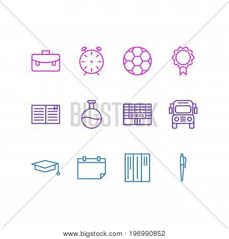 Editable Pack Of School, Cap, Clock And Other Elements.  Vector Illustration Of 12 Studies Icons.