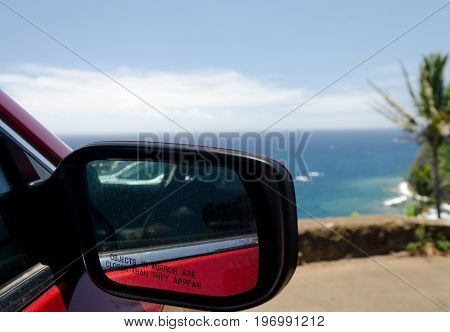 Back View Mirror Of A Red Sport Carnear Pololu Point