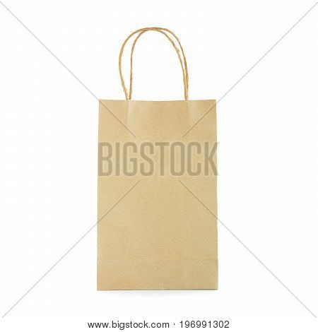 Reusable brown paper bag with loop handles - isolated on white background