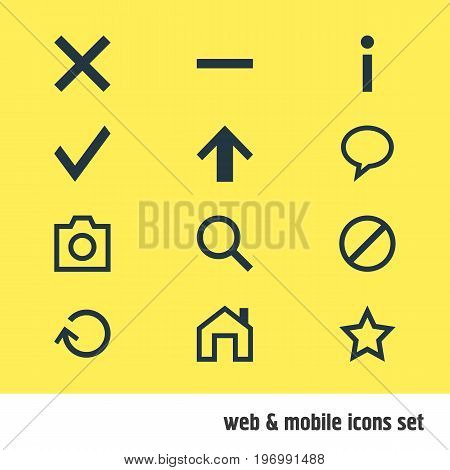 Editable Pack Of Renovate, Magnifier, Asterisk And Other Elements.  Vector Illustration Of 12 Interface Icons.