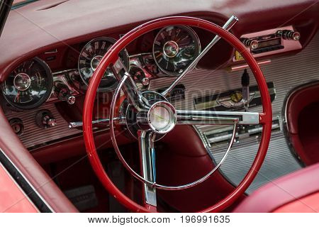 PAAREN IM GLIEN GERMANY - MAY 23 2015: Cabin of a personal luxury car Ford Thunderbird (third generation). The oldtimer show in MAFZ.