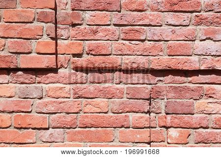 Closeup of old red brick wall detail as background