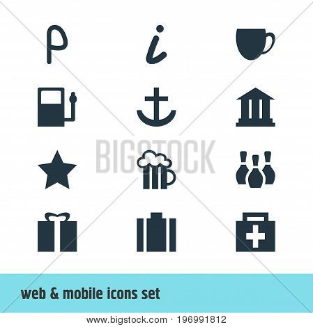 Editable Pack Of Beer Mug, Map Information, Bookmark And Other Elements.  Vector Illustration Of 12 Travel Icons.