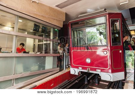 Red Peak Tram Stands On Victoria Peak Station