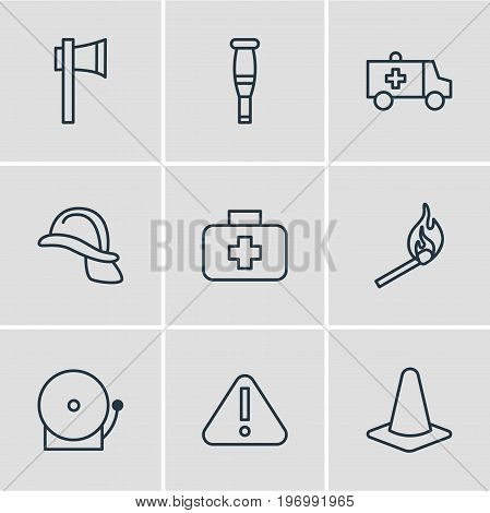 Editable Pack Of Taper, Ax, First-Aid And Other Elements.  Vector Illustration Of 9 Emergency Icons.
