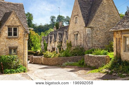 Scenic view on   old street in sunny morning ,  Bibury, Gloucestershire, England, UK.