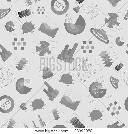 Business charts and diagramms seamless pattern with isolated located chaotically gray elements vector illustration