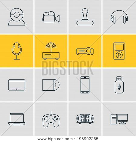 Editable Pack Of Smartphone, Floodlight, Sound Recording And Other Elements.  Vector Illustration Of 16 Hardware Icons.