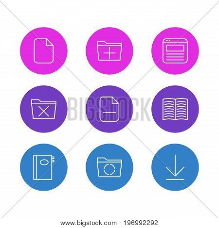 Editable Pack Of Page, Minus, Downloading And Other Elements.  Vector Illustration Of 9 Office Icons.