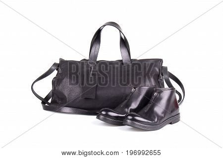 Men's shoes and handbag from Italian leather