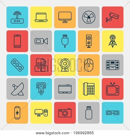 Device Icons Set. Collection Of Cctv, Telephone, Speaker And Other Elements
